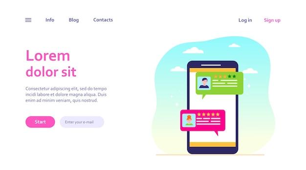 Online chat-interface. slimme telefoonscherm met gebruikersdialoogbellen. messenger, sociale media, communicatie, opmerkingenconcept voor websiteontwerp of bestemmingswebpagina Gratis Vector