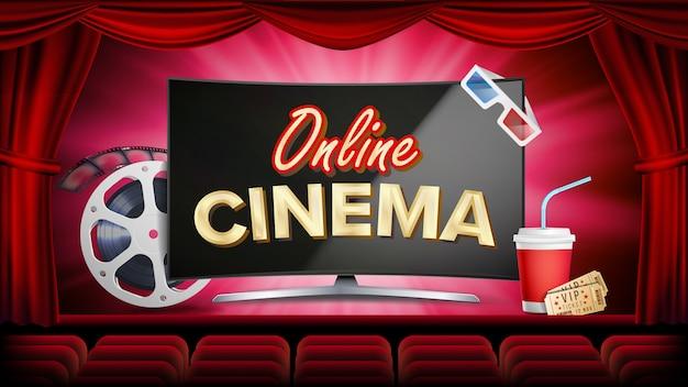 Online cinema vector. banner met computermonitor. rood gordijn. theater, 3d-bril, filmstrip-cinematografie. Premium Vector