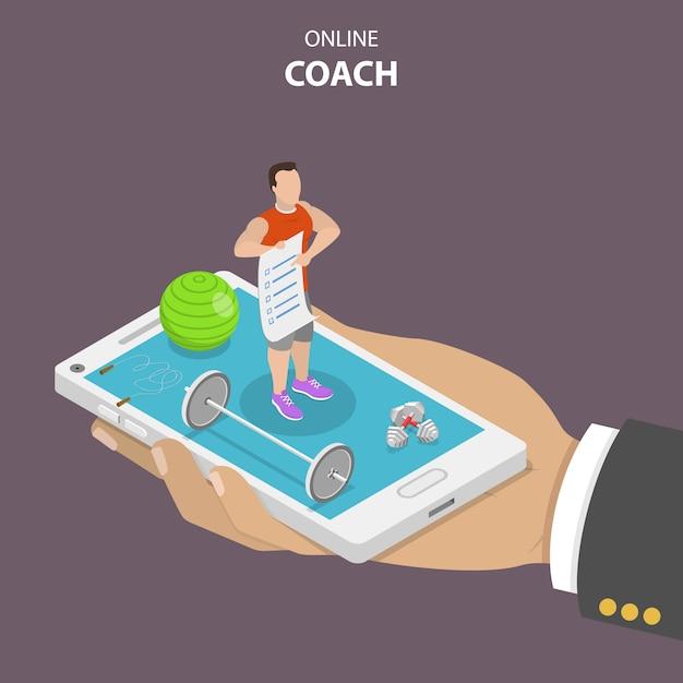 Online coach plat isometrisch concept. Premium Vector
