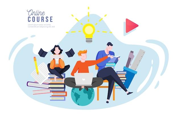 Online community voor cursussen en tutorials Premium Vector