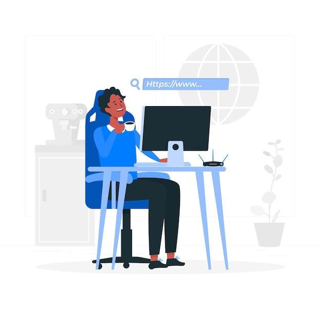 Online concept illustratie doorbladeren Gratis Vector