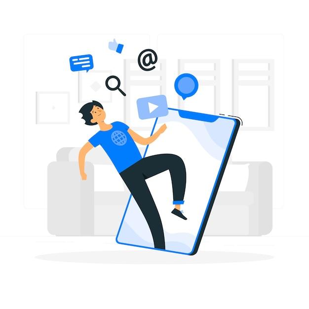 Online concept illustratie Gratis Vector