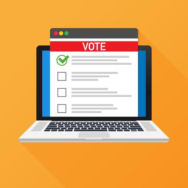 Online concept stemmen. stembus op een laptop scherm stemmen. Premium Vector