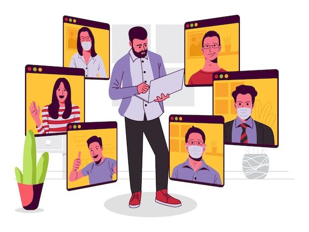 Online conference meeting illustratie Premium Vector