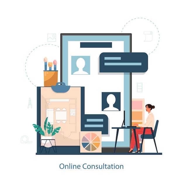 Online consultatiedienst met interieur er concept. decorateur die een kamer plant, muurkleur en meubelstijl kiest. huis renovatie. Premium Vector