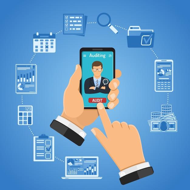 Online controle, belasting, boekhoudconcept Premium Vector