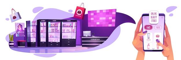 Online cosmetica winkelconcept. vrouw handen met smartphone met app voor schoonheidsproducten internet winkelen, meisje kiest cosmetische make-up, lichaamsverzorgingsproducten in virtuele winkel, cartoon afbeelding Gratis Vector