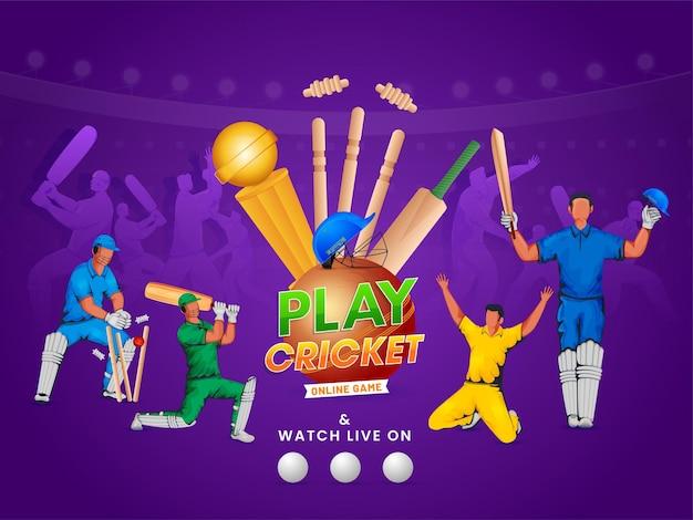 Online cricketspel posterontwerp met cricketspelers in actie pose Premium Vector