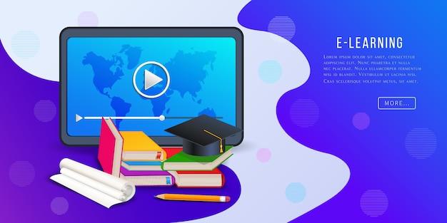 Online cursussen, banner voor e-learningplatform met tabletcomputer, videospeler, boeken, potlood en afstudeercap. Premium Vector