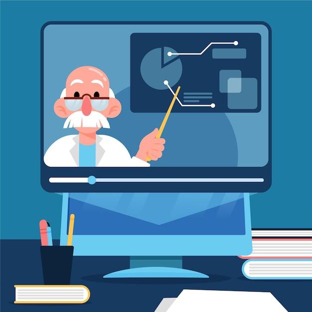 Online cursussen concept Gratis Vector