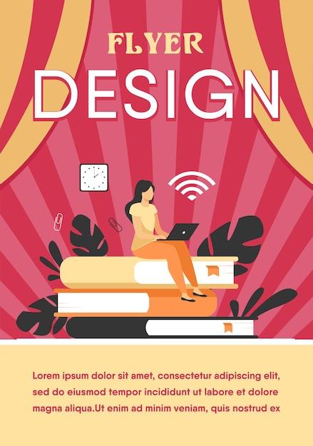 Online cursussen en studentenconcept. vrouw zittend op een stapel boek en laptop gebruikt om te studeren op internet. flyer-sjabloon Gratis Vector