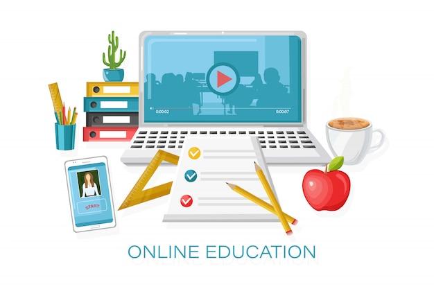 Online cursussen onderwijs. leerproces. notebook en school levert illustratie Premium Vector