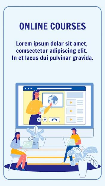 Online cursussen, universiteitsvlieger lay-out Premium Vector