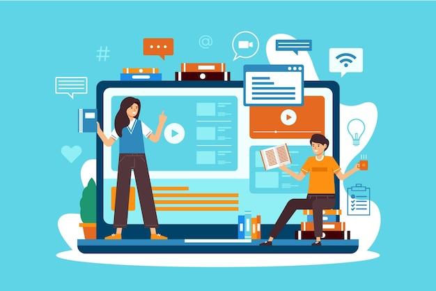 Online cursussen voor studenten in quarantaine Gratis Vector