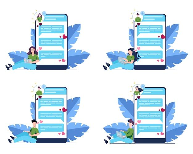 Online dating en communicatie app-concept. virtuele relatie en vriendschap. communicatie tussen mensen via netwerk op de smartphone. set Premium Vector