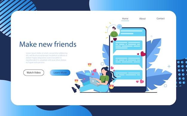 Online dating en communicatie app-concept. virtuele relatie en vriendschap. communicatie tussen mensen via netwerk op de smartphone. Premium Vector