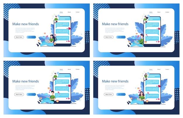 Online dating- en communicatie-app. virtuele relatie en vriendschap. communicatie tussen mensen via netwerk op de smartphone. illustratie Premium Vector