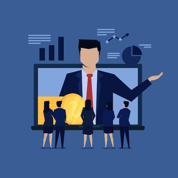 Online de beloningsreferentie van de zakenmanpresentatie. Premium Vector