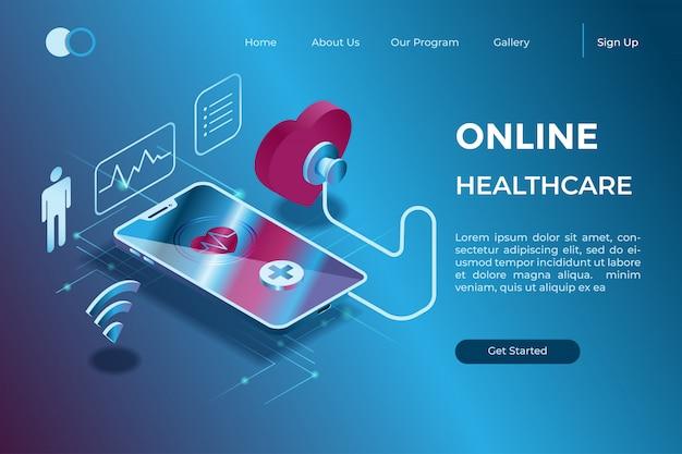 Online diagnose door een gadget met een stethoscoopsymbool in isometrische 3d illustratie Premium Vector
