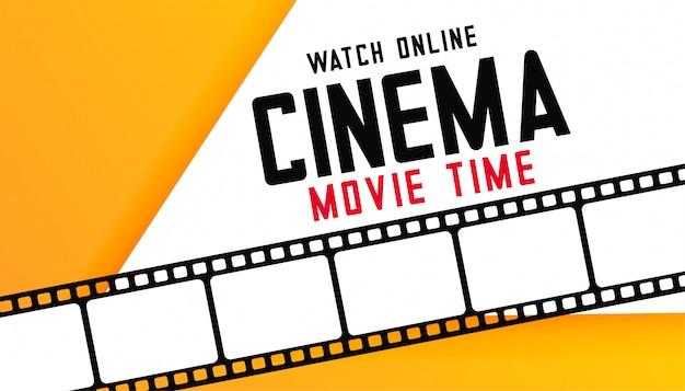 Online digitale bioscoop film tijd achtergrond met filmstrip Gratis Vector