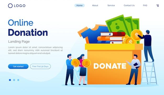 Online donatie bestemmingspagina website illustratie platte vector sjabloon Premium Vector
