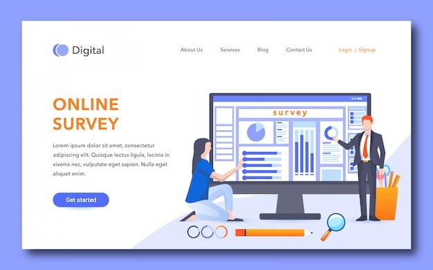 Online enquête bestemmingspagina-ontwerp Premium Vector