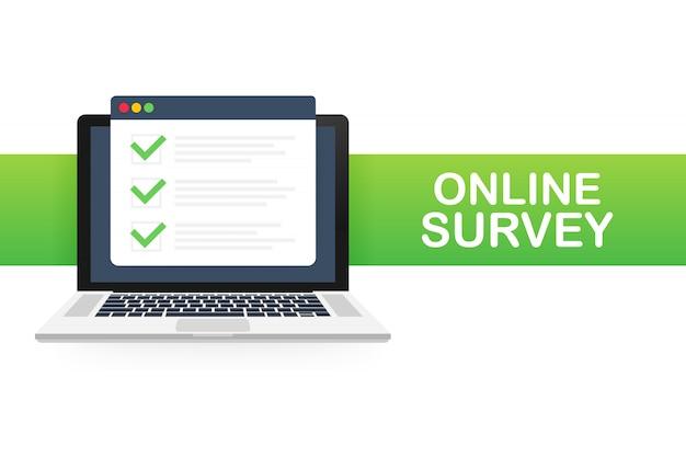 Online-enquête, checklist, vragenlijstpictogram. laptop, computerscherm. feedback bedrijf. illustratie. Premium Vector