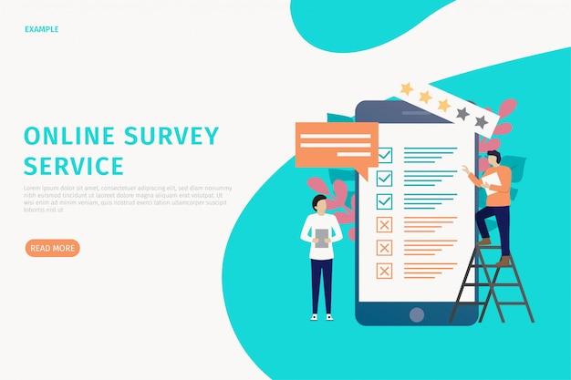 Online enquête website Premium Vector