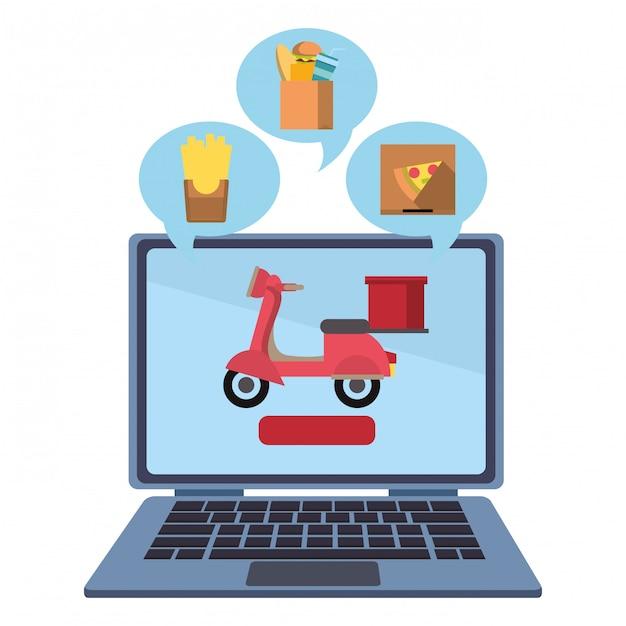 Online eten bestellen en bezorgen Premium Vector
