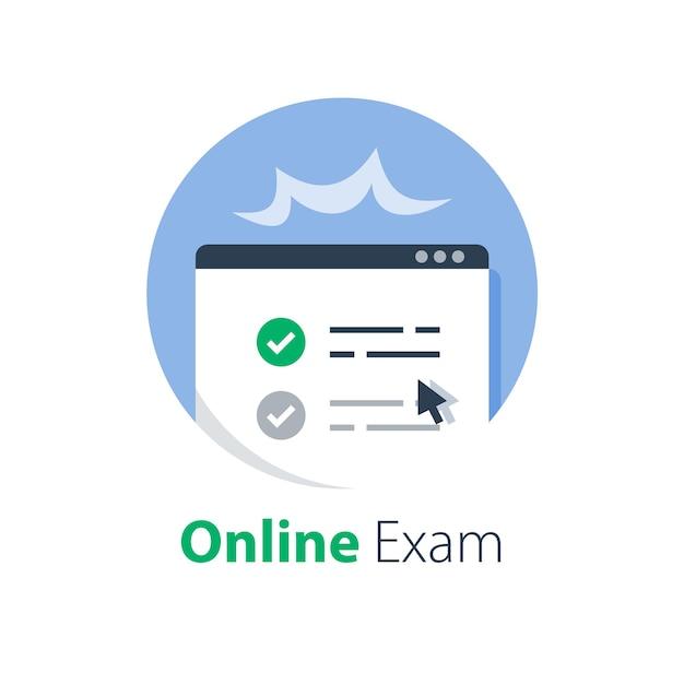 Online examen behalen, kennisbeoordeling, testscore, leren op afstand, cursus voltooien, internetonderwijs, e-formulier invullen en indienen, webtoegang en registratie, illustratie Premium Vector