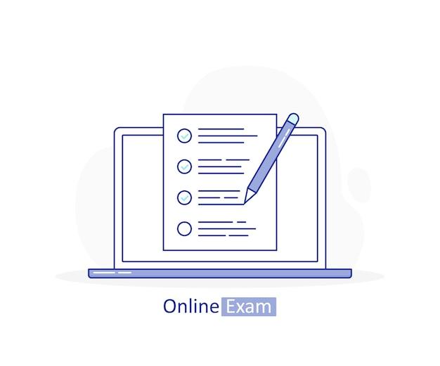 Online examen, laptop met checklist en potlood, test afleggen, antwoord kiezen, vragenlijstformulier, onderwijs. Premium Vector