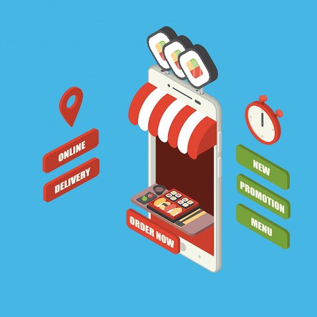 Online fastfood bestelling en levering concept, gigantische isometrische smartphone met japans eten, sushi set bento, eetstokje en wasabi op dienblad, winkel, toonbank, groot bord, stopwatch en knoppen Premium Vector
