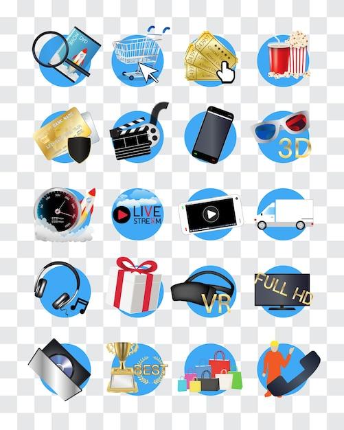 Online films winkel pictogram Premium Vector