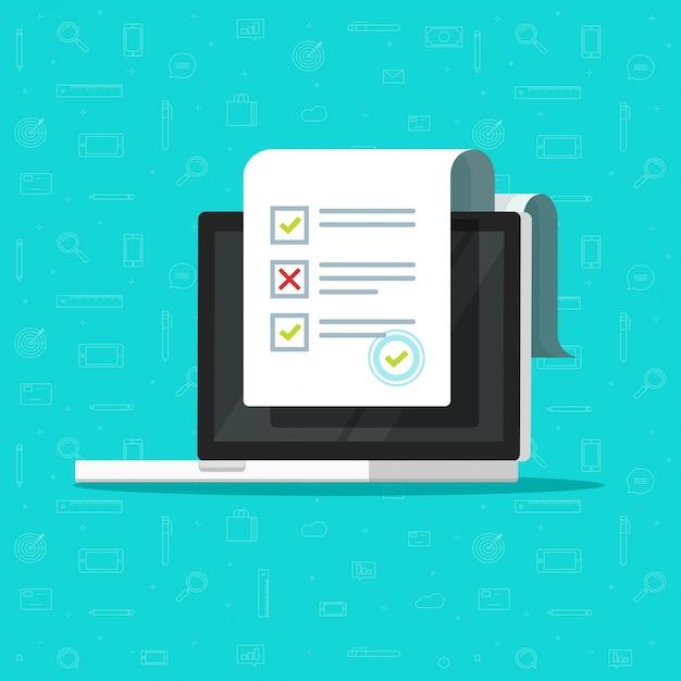 Online formulieronderzoek of testexamendocument op laptopcomputer Premium Vector