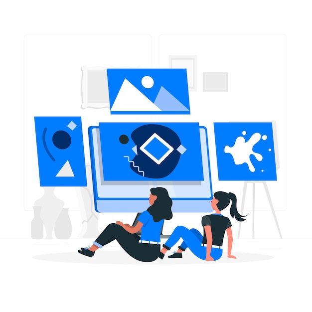 Online galerij concept illustratie Gratis Vector