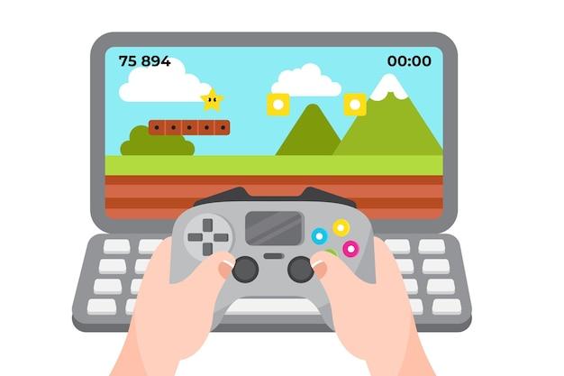 Online games concept illustratie met controller Gratis Vector