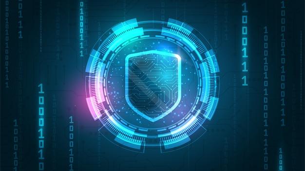 Online gegevensbeschermingsschild Premium Vector