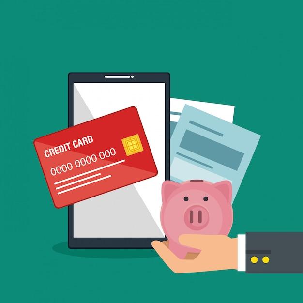 Online geld besparen met smartphone Gratis Vector