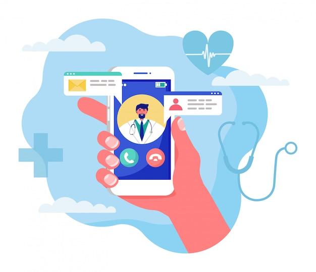 Online geneeskunde concept illustratie, cartoon menselijke hand met smartphone met video-oproep aan arts op wit Premium Vector