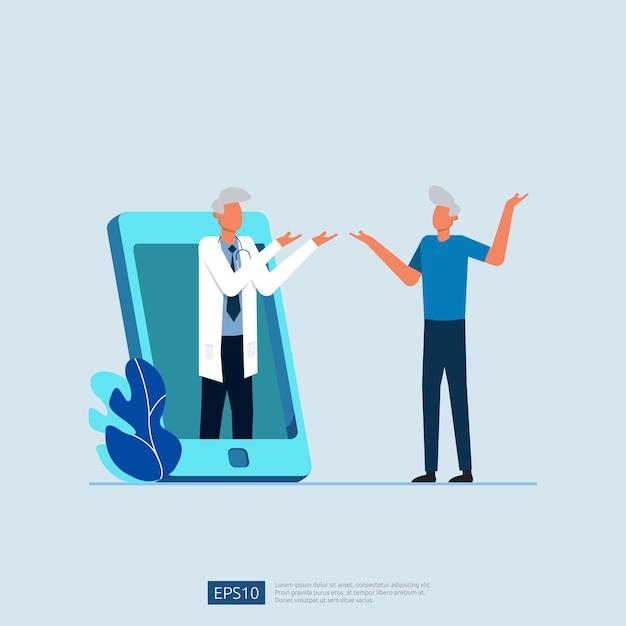 Online gezondheidszorg en medisch advies. Premium Vector
