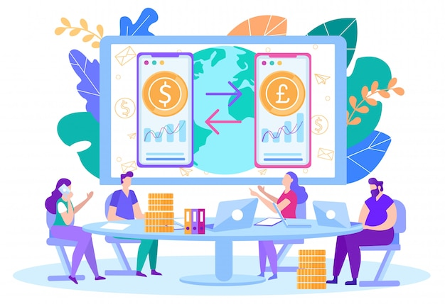 Online handel, valutawissel opstarten vector Premium Vector
