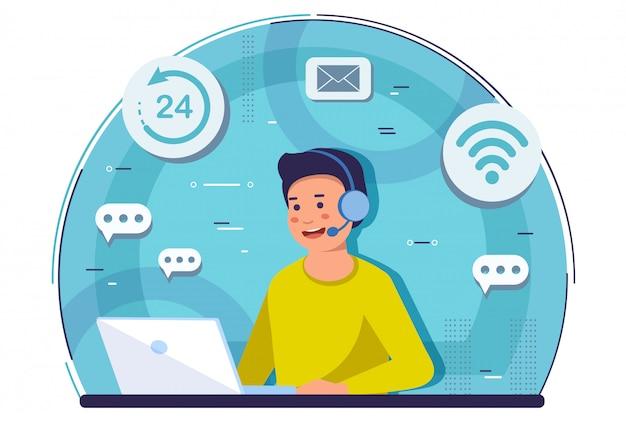 Online hulp. klantenservice en callcenterconcept. Premium Vector