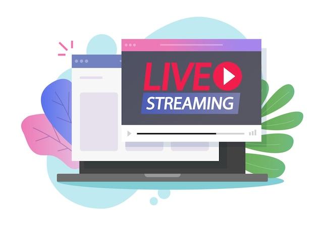Online internet live streaming of video uitzenden op webbrowserpagina via computer pc Premium Vector