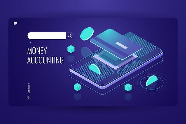 Online internetbankieren, mobiele bank isometrisch, munt valt op krediet plastic kaart Gratis Vector