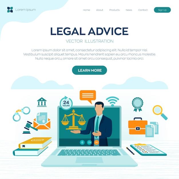 Online juridisch advies concept. arbeidsrecht, advocaat, advocaat. advocaat website op laptop scherm. Premium Vector