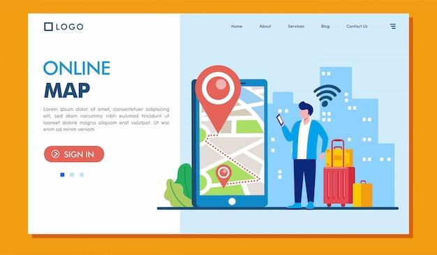 Online kaart bestemmingspagina website illustratie Premium Vector