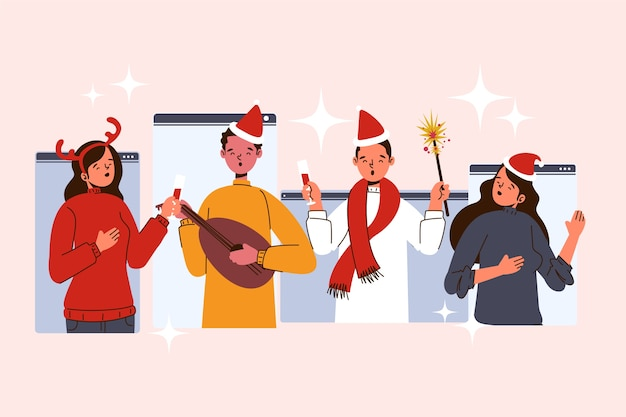 Online kerstmensen die verschillende activiteiten doen Gratis Vector