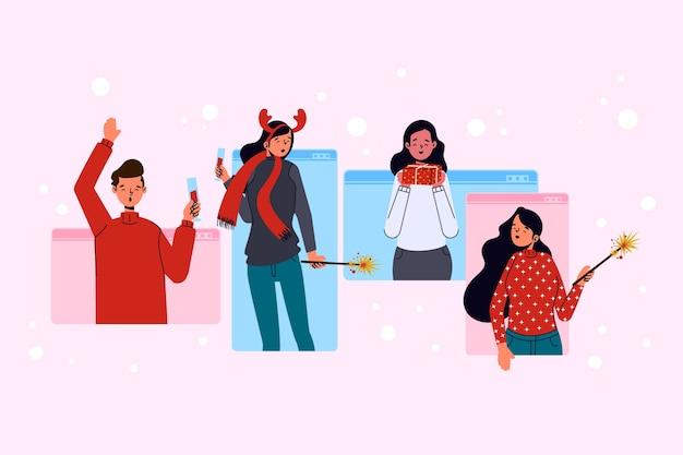 Online kerstmensen vieren via virtuele communicatie Gratis Vector