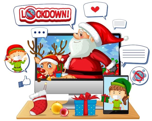 Online kerstviering via mobiel apparaat Gratis Vector