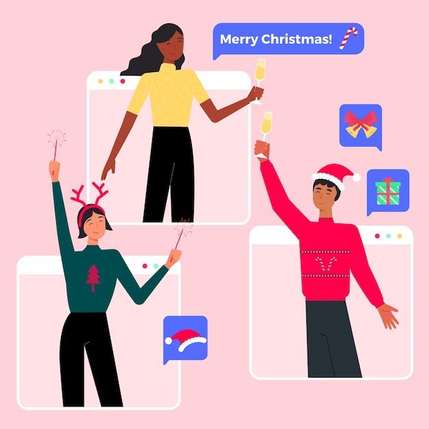 Online kerstviering wegens epidemie Gratis Vector